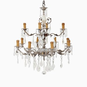 Silver on Brass & Crystal Glass Chandelier, 1920s