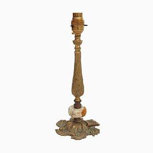 Lampe de Bureau en Onyx et Laiton Doré, 20ème Siècle