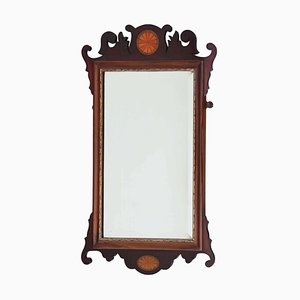 Antique Georgian Revival Inlaid Mahogany Fret Cut Wall Mirror, 1900s