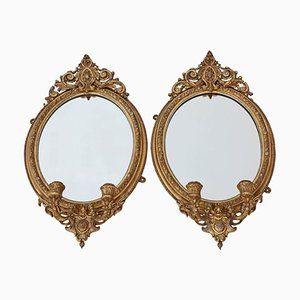Antique Gilt Girandole Wall Mirrors, Set of 2
