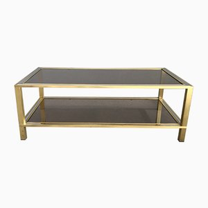 Chromed Metal, Brass and Smoked Glass Coffee Table, 1970s