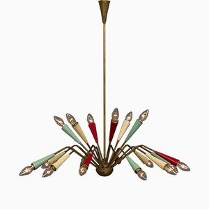 Lámpara de araña milanesa de Angelo Lelli para Arredoluce, años 50