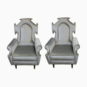 Italian Hollywood Regency Style Armchairs, 1950s, Set of 2