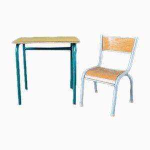 Gelber Vintage Kinderschreibtisch & Stuhl