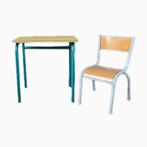 Scrivania da bambino vintage gialla con sedia