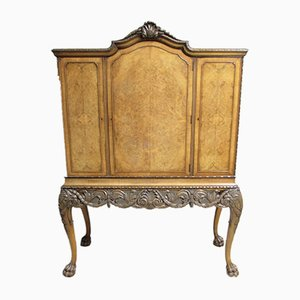 Antique Queen Anne Burr Walnut Cabinet