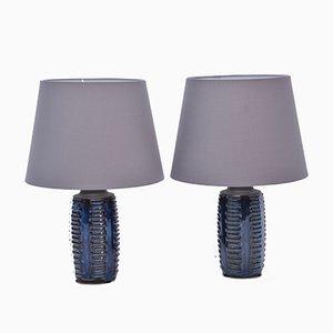 Blaue Vintage Modell 1034 Tischlampen von Søholm, 2er Set