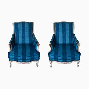 Antique French Decorated Bergere Armchairs, Set of 2