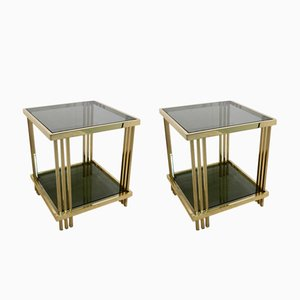 French Brass & Glass Side Tables, 1970s, Set of 2