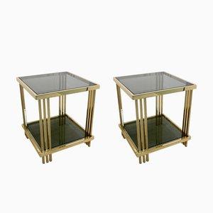 Tavolini in ottone e vetro, anni '70, set di 2