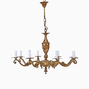 Lámpara de araña antigua grande de latón con ocho brazos, años 60