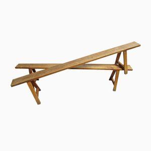 Französische Sitzbänke aus Obstholz, 1850er, 2er Set