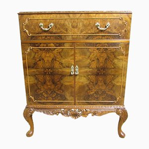 Queen Anne Style Burr Walnut Cabinet, 1930s