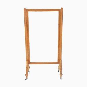 Großer antiker viktorianischer Standspiegel mit Rahmen aus Ahorn & Dammarafichte