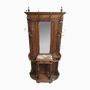 Antique French Solid Walnut Hall Stand