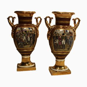 Antique Napoleon XIX Porcelain Vases, Set of 2