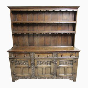English Ipswich Oak Kitchen Buffet, 1910s