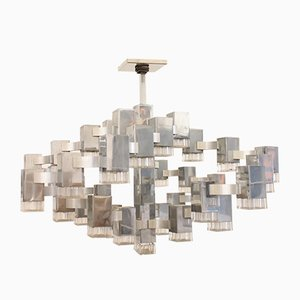 Large Vintage Cubic 37 Light Chandelier by Gaetano Sciolari for Sciolari