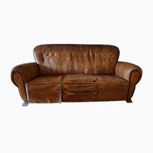 Vintage Distressed Leather Club Sofa