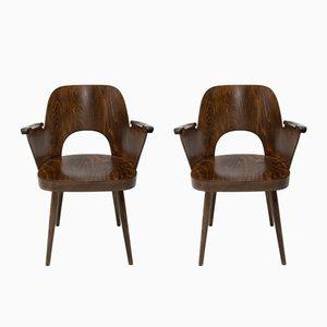 Armlehnstühle aus Buche von Oswald Haerdtl für TON, 1960er, 2er Set
