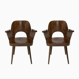 Beech Armchairs by Oswald Haerdtl for TON, 1960s, Set of 2