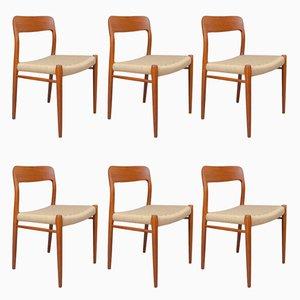Dänische Nr.75 Esszimmerstühle mit Gestell aus Teak & Sitz aus Papierkordelgeflecht von Niels O. Møller für J.L. Møllers, 1950er, 6er Set