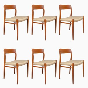 Danish No.75 Teak & Papercord Dining Chairs by Niels O. Møller for J.L. Møllers, 1950s, Set of 6