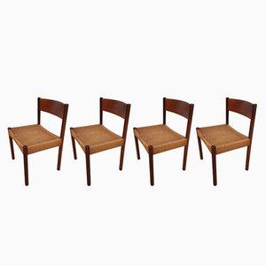 Dänische Mid-Century Esszimmerstühle mit Gestell aus Teak & Sitz aus Papierkordelgeflecht, 1960er, 4er Set