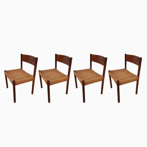 Mid-Century Danish Teak & Paper Cord Dining Chairs, 1960s, Set of 4