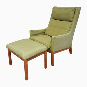 Mid-Century Danish Lounge Chair with Footstool