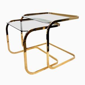 Tavolini ad incastro in ottone e vetro fumè, anni '70