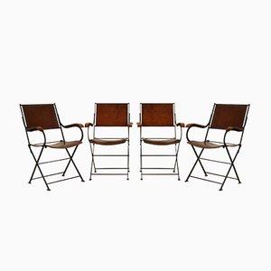 Chaises Pliantes en Cuir, France, 1960s, Set de 4