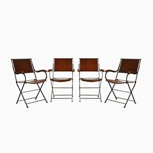 French Leather Folding Chairs, 1960s, Set of 4