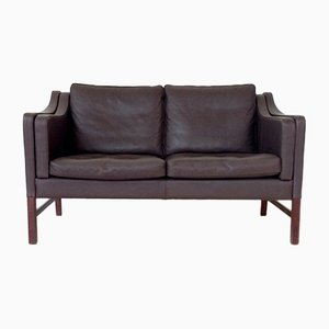 Scandinavian Brown Leather Sofa, 1970s
