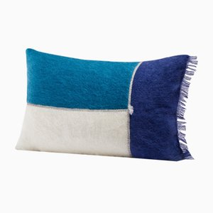 Patchwork Mohair Cushion in Ocean Blue by Dinsh London