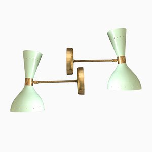 Vintage Brass and Metal Sconces, 1950s, Set of 2