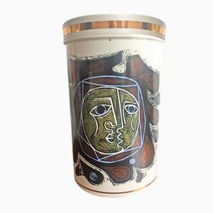Vaso Mid-Century moderno in ceramica con coperchio di Robert Stewart, anni '60