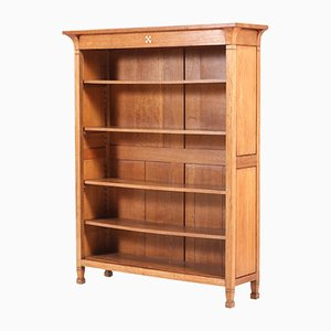 Dutch Oak Art Nouveau Arts & Crafts Open Bookcase, 1900s