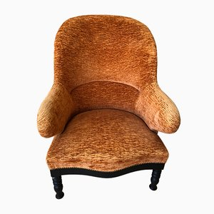 Vintage Rust Velvet Lounge Chair