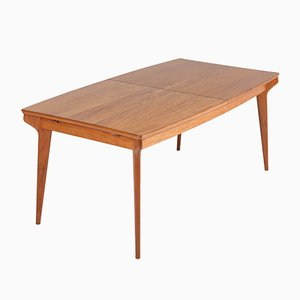 Mid-Century Modern Belgian Teak Extendable Dining Room Table, 1950s