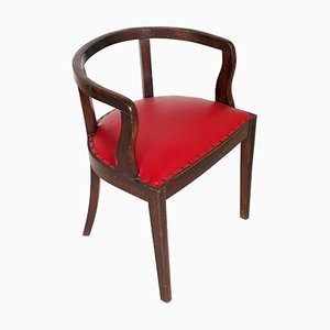 French Art Deco Armchair in Brown Walnut by Jules Leleu, 1920s
