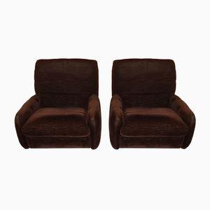 Vintage Velvet Chocolate Lounge Chairs, 1970S, Set of 2