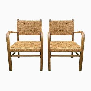 Vintage Armlehnstühle mit Gestell aus Holz & Sitz aus Seilgeflecht, 2er Set