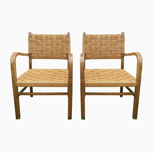 Vintage Wood and Rope Armchairs by Axel Larsson, Set of 2