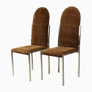 Mid-Century Esszimmerstühle mit Veloursbezug, 1970er, 4er Set