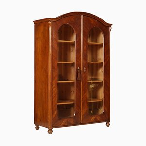 Antique Biedermeier Bookcase Vitrine in Walnut