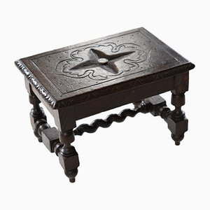 Small Antique English Carved Oak Footstool, 1830s