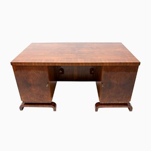 Art Deco Walnut Double-Sided Desk, 1930s