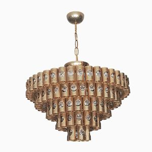 Hängelampe aus vergoldetem Metall & Kristallglas in Wasserfall-Optik von Palwa, 1960er