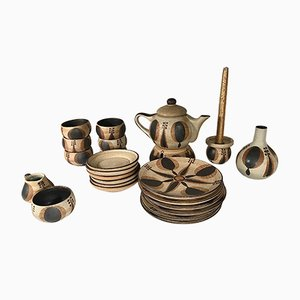 German Vintage 24-Piece Ceramic Coffee Set from Sgrafo Modern, 1960s